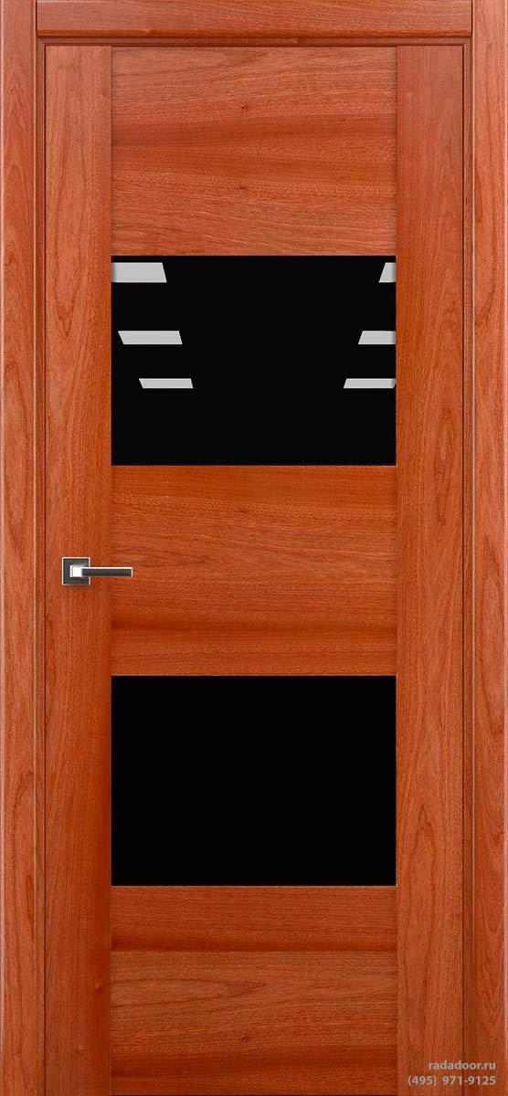 Дверь Рада Bruno ДО-1, стекло черный лакобель (сапеле)