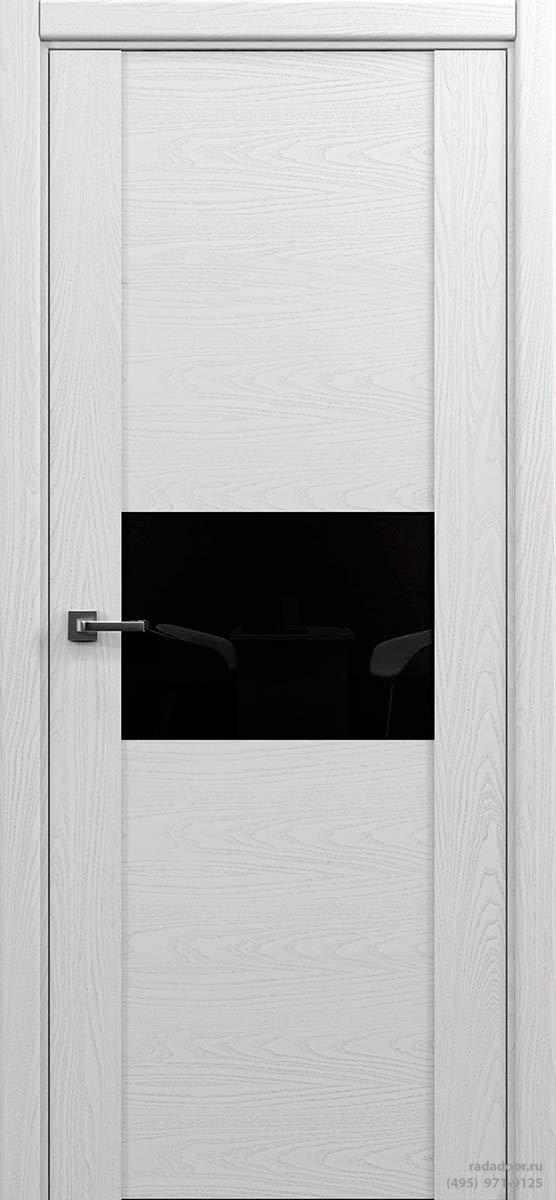 Дверь Рада Bruno ДО-2, стекло черный лакобель (белая эмаль)