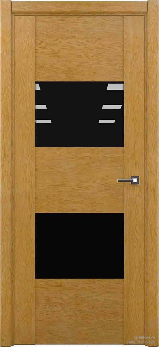 Дверь Рада Bruno ДО-1, стекло черный лакобель (дуб натуральный)