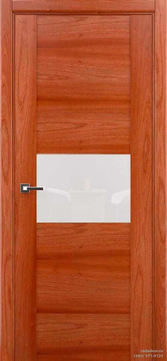 Дверь Рада Bruno ДО-2, стекло белый лакобель (сапеле)