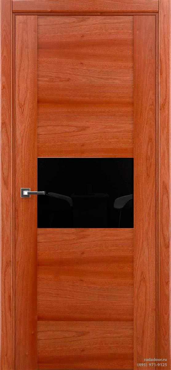 Дверь Рада Bruno ДО-2, стекло черный лакобель (сапеле)