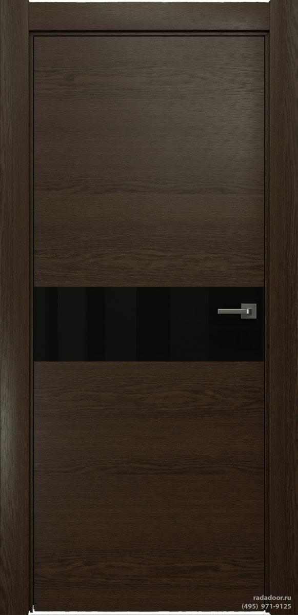 Двери Рада X-Line Д01 в цвете Американо стекло черный лакобель