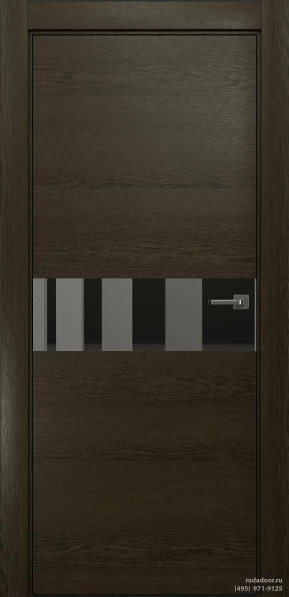Двери Рада X-Line Д01 в цвете Экспрессо стекло графитовое зеркало