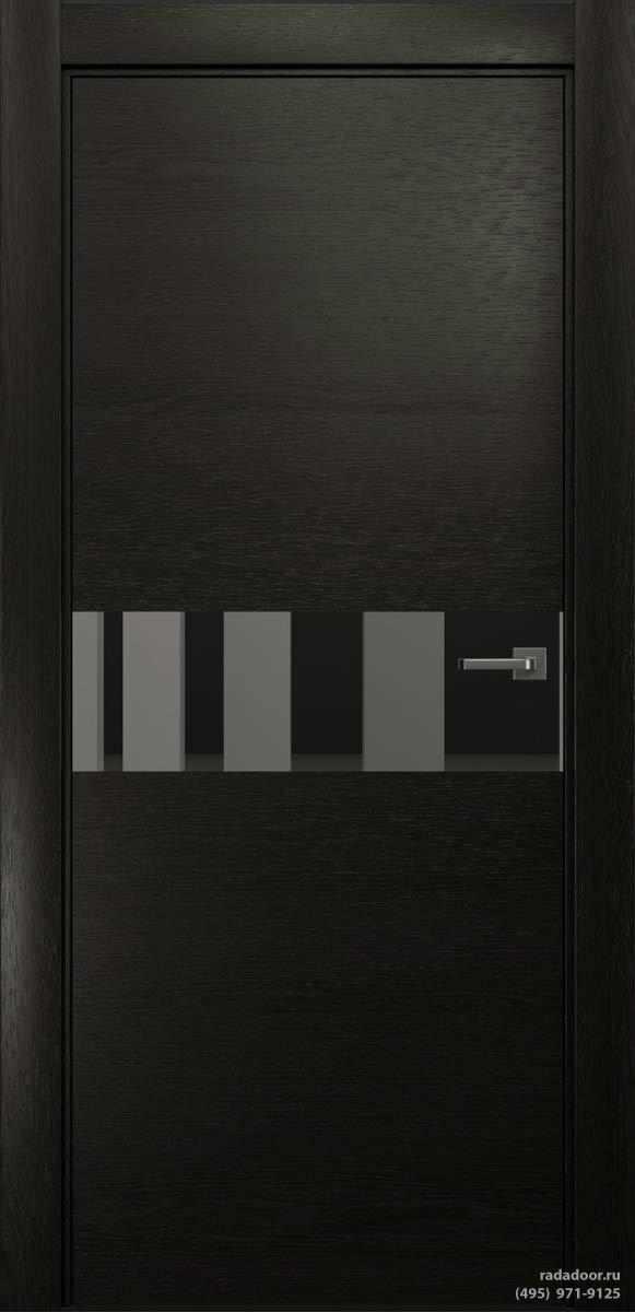 Двери Рада X-Line Д01 в цвете Дабл блэк стекло графитовое зеркало