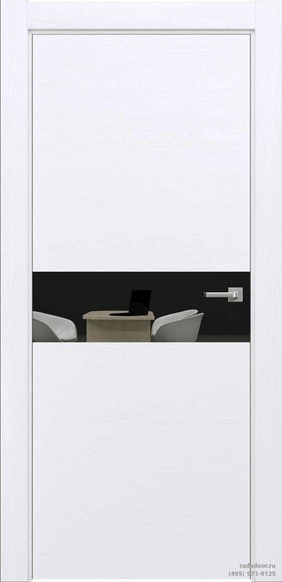 Двери Рада X-Line Д01 в цвете Blanc стекло графитовое зеркало