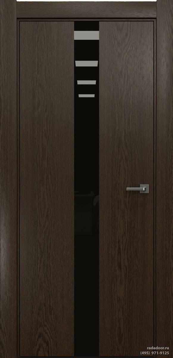 Двери Рада X-Line Д03 в цвете Американо стекло черный лакобель