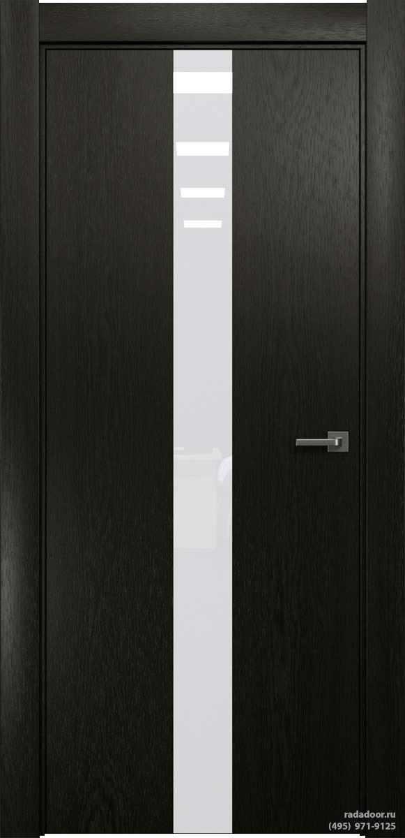 Двери Рада X-Line Д03 в цвете Дабл блэк стекло белый лакобель