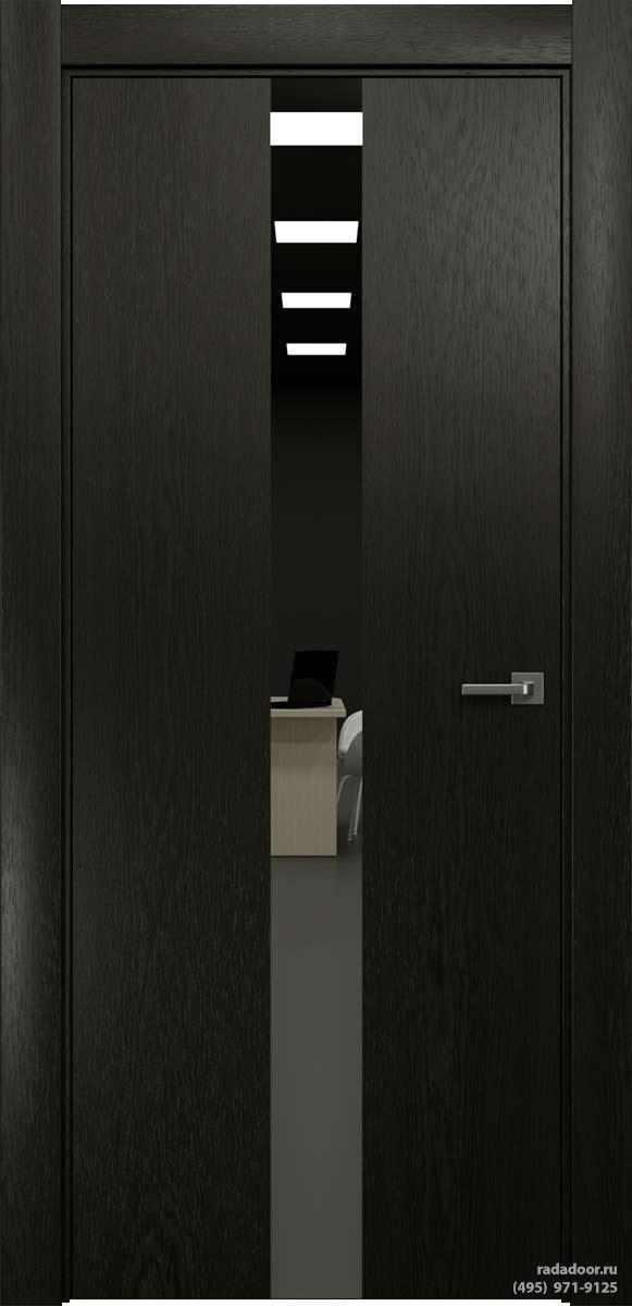 Двери Рада X-Line Д03 в цвете Дабл блэк стекло графитовое зеркало