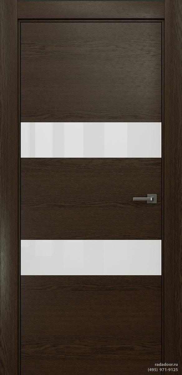 Двери Рада X-Line Д04 в цвете Американо стекло белый лакобель