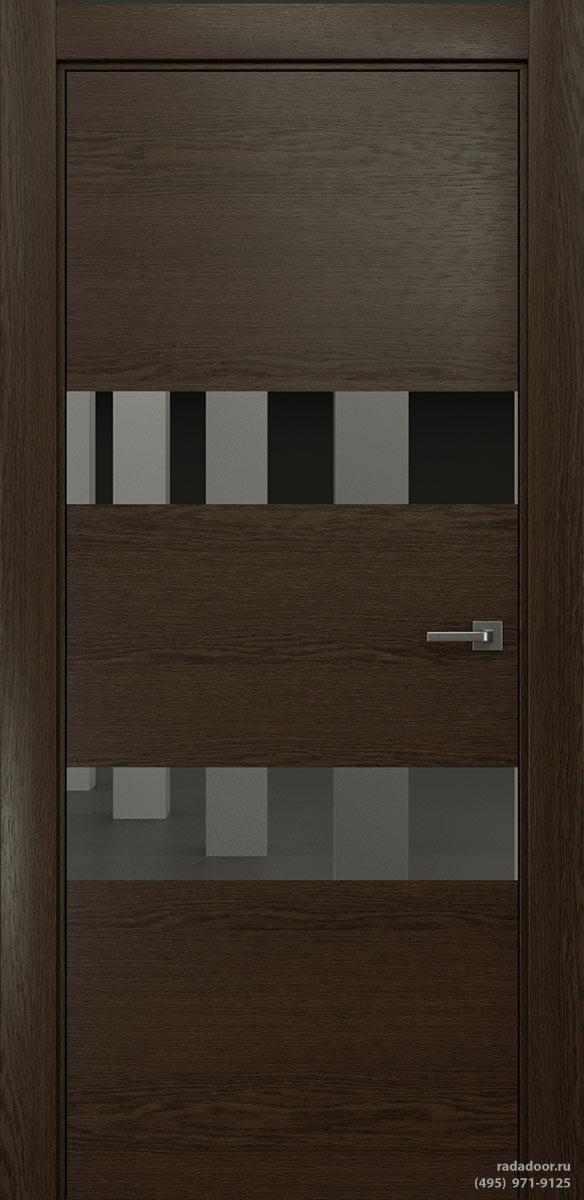Двери Рада X-Line Д04 в цвете Американо стекло графитовое зеркало