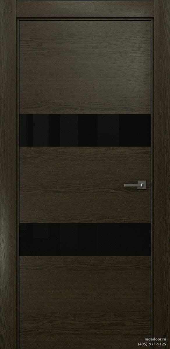 Двери Рада X-Line Д04 в цвете Экспрессо стекло черный лакобель