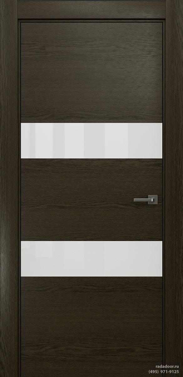 Двери Рада X-Line Д04 в цвете Экспрессо стекло белый лакобель