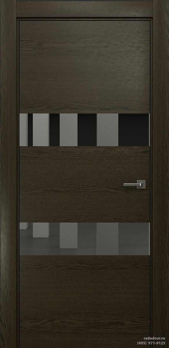 Двери Рада X-Line Д04 в цвете Экспрессо стекло графитовое зеркало