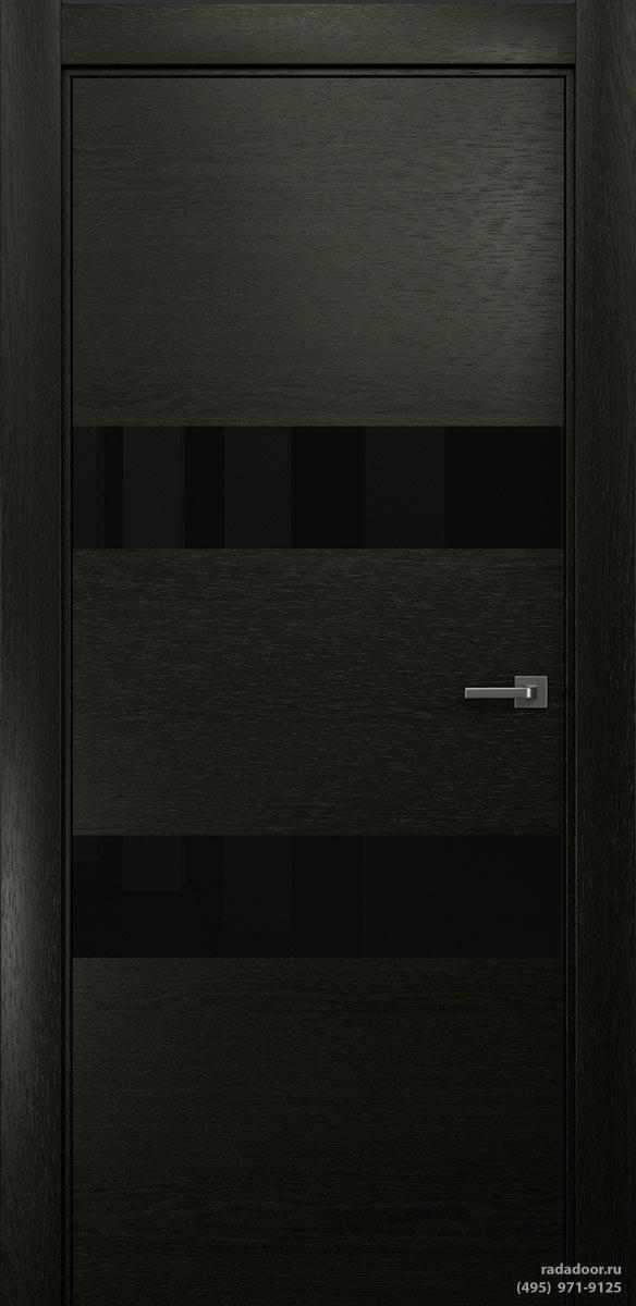 Двери Рада X-Line Д04 в цвете Дабл блэк стекло черный лакобель