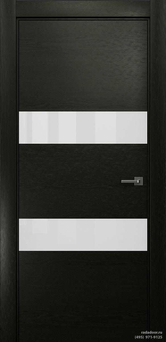 Двери Рада X-Line Д04 в цвете Дабл блэк стекло белый лакобель