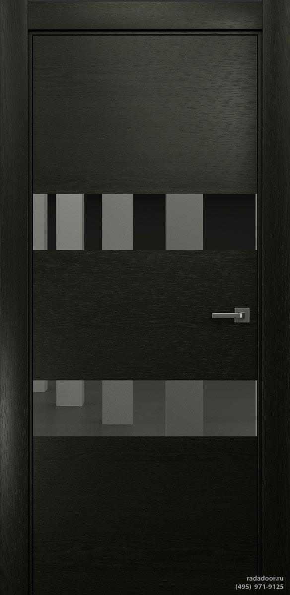 Двери Рада X-Line Д04 в цвете Дабл блэк стекло графитовое зеркало