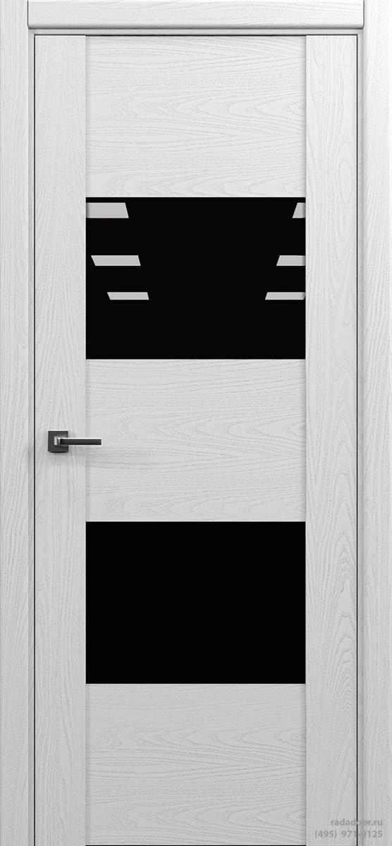 Дверь Рада Bruno ДО-1, стекло черный лакобель (белая эмаль)