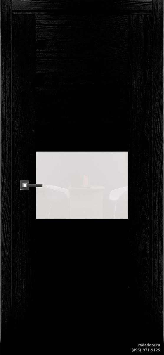 Дверь Рада Bruno ДО-2, стекло белый лакобель (черная эмаль)