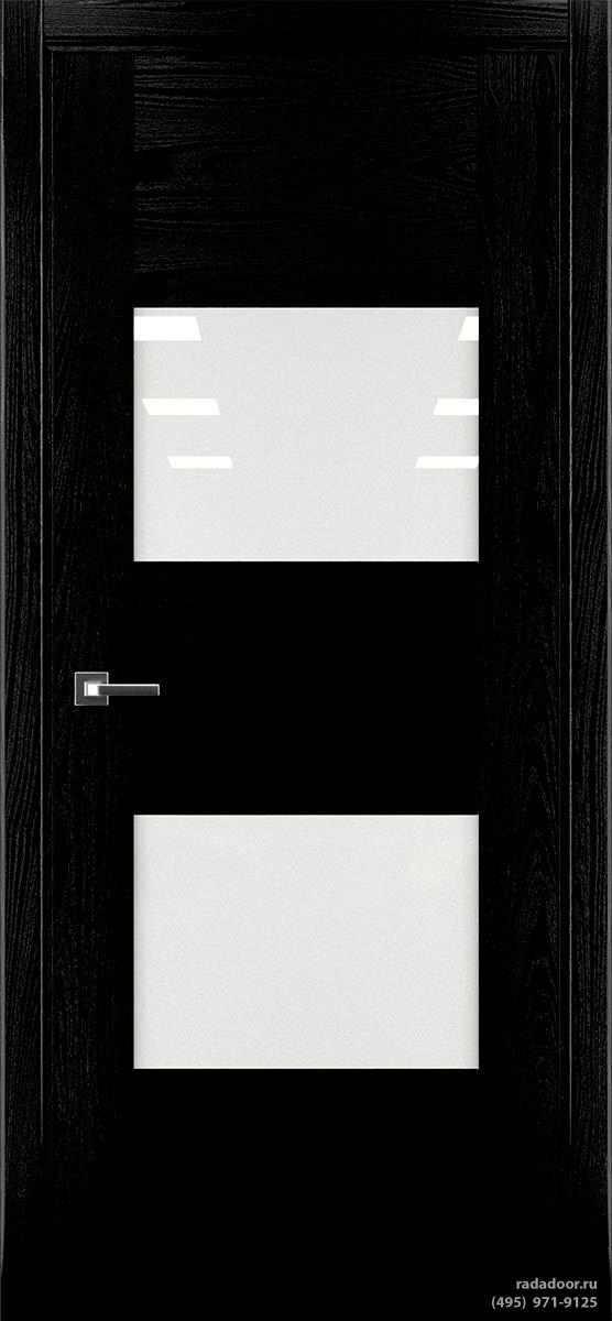 Дверь Рада Bruno ДО-1, стекло белый лакобель (черная эмаль)