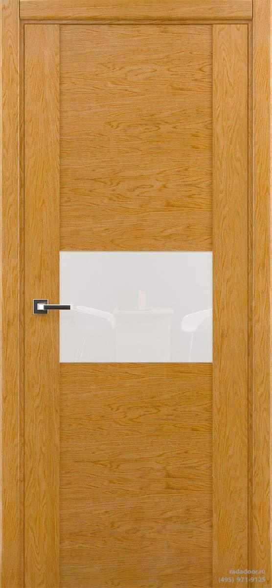 Дверь Рада Bruno ДО-2, стекло белый лакобель (дуб натуральный)