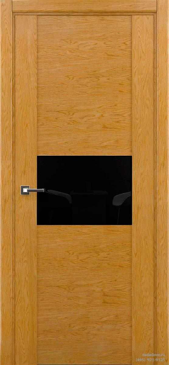 Дверь Рада Bruno ДО-2, стекло черный лакобель (дуб натуральный)