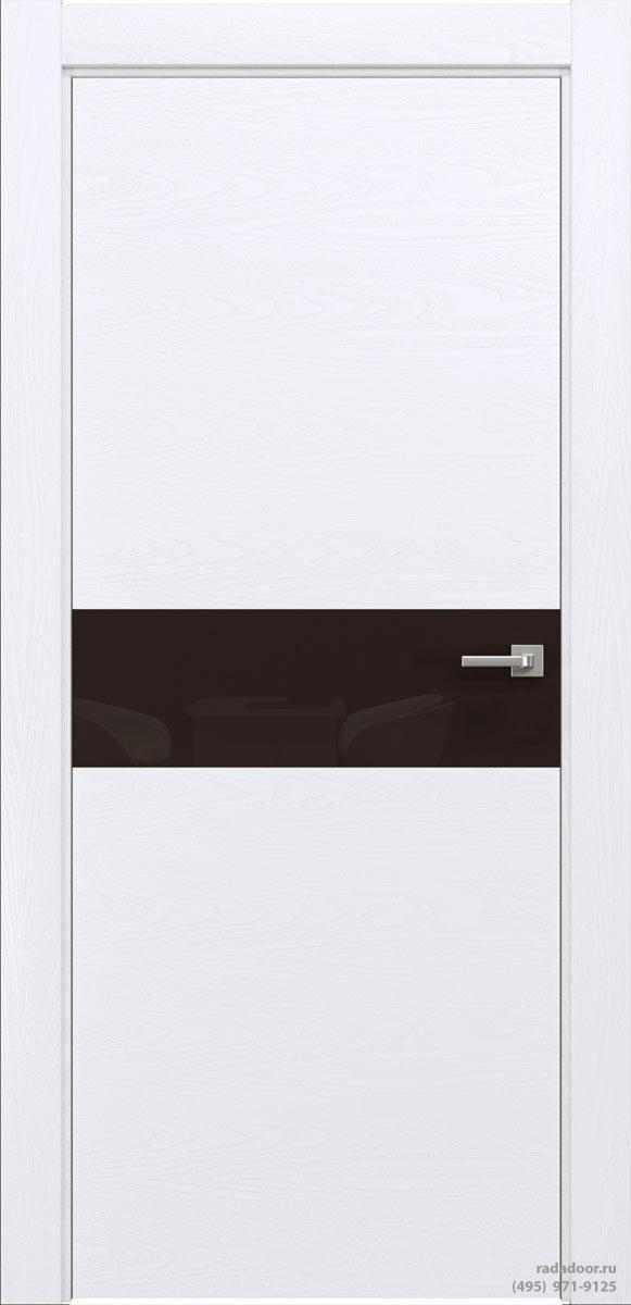 Двери Рада X-Line Д01 в цвете Blanc стекло темно-коричневый лакобель