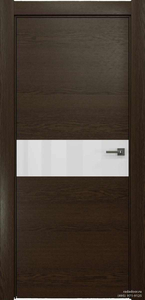 Двери Рада X-Line Д01 в цвете Американо стекло белый лакобель