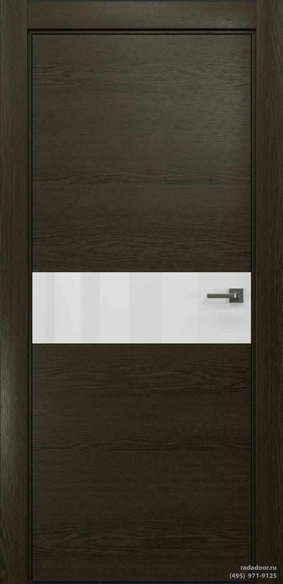 Двери Рада X-Line Д01 в цвете Экспрессо стекло белый лакобель