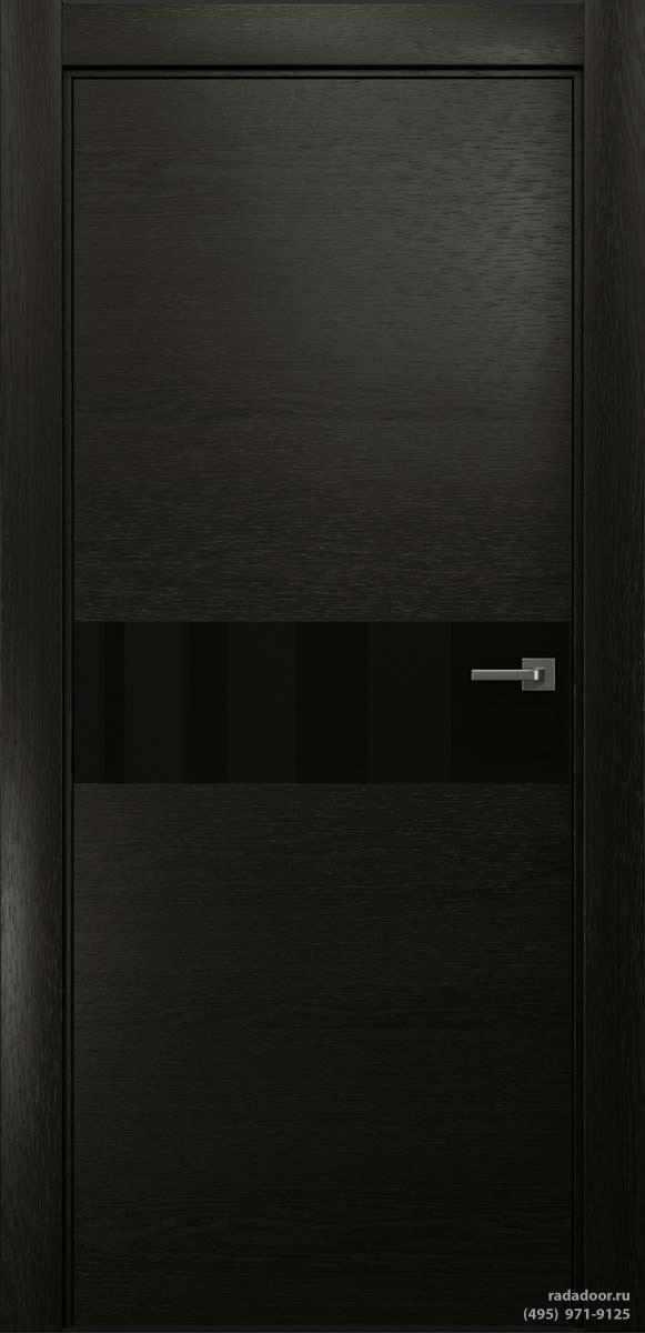 Двери Рада X-Line Д01 в цвете Дабл блэк стекло черный лакобель