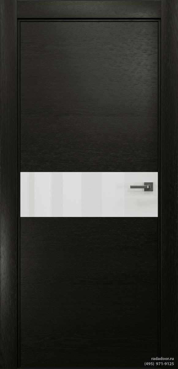 Двери Рада X-Line Д01 в цвете Дабл блэк стекло белый лакобель