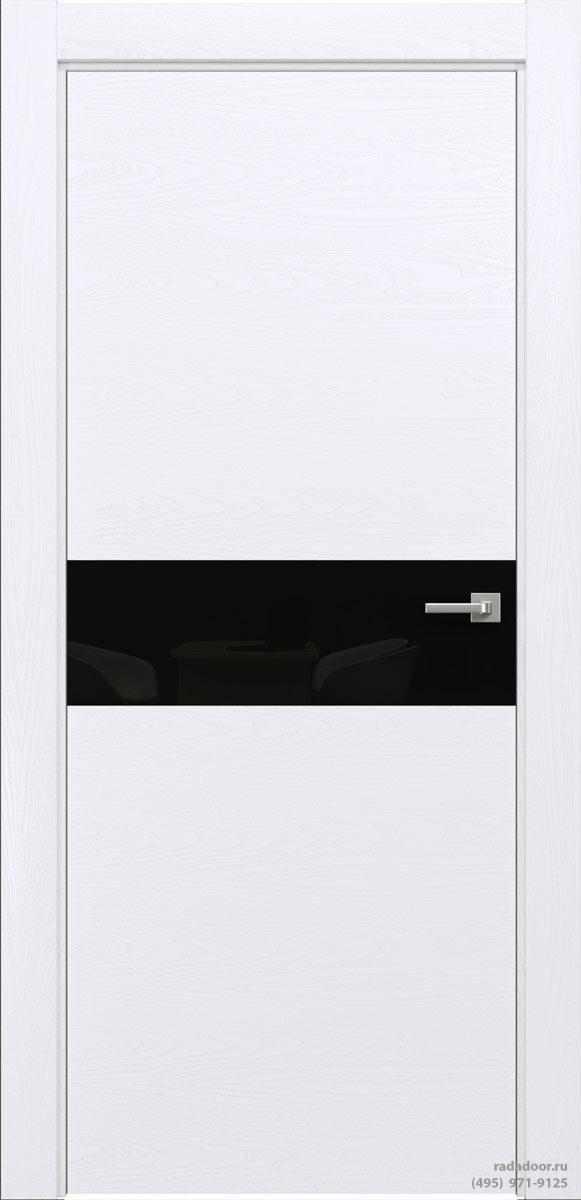Двери Рада X-Line Д01 в цвете Blanc стекло черный лакобель