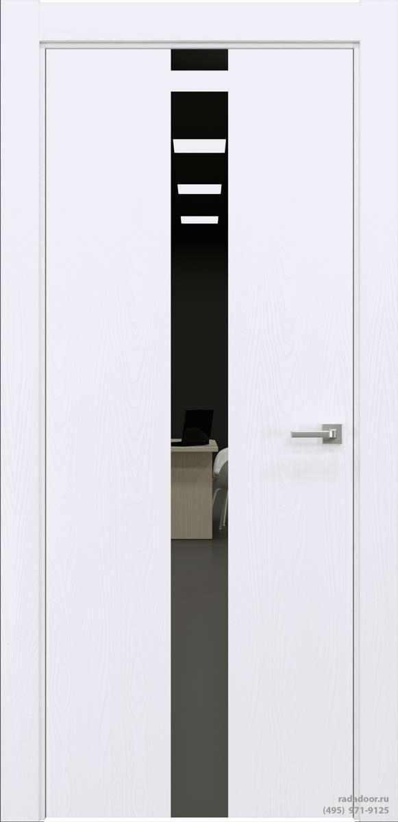 Двери Рада X-Line Д03 в цвете Blanc стекло графитовое зеркало
