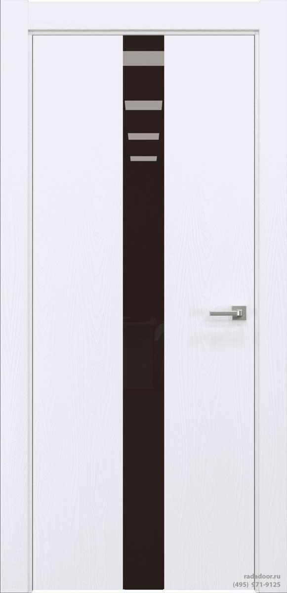 Двери Рада X-Line Д03 в цвете Blanc стекло темно-коричневый лакобель