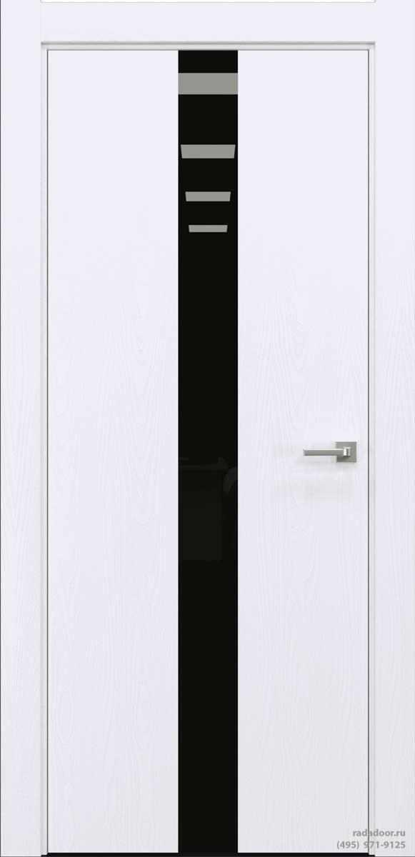 Двери Рада X-Line Д03 в цвете Blanc стекло черный лакобель