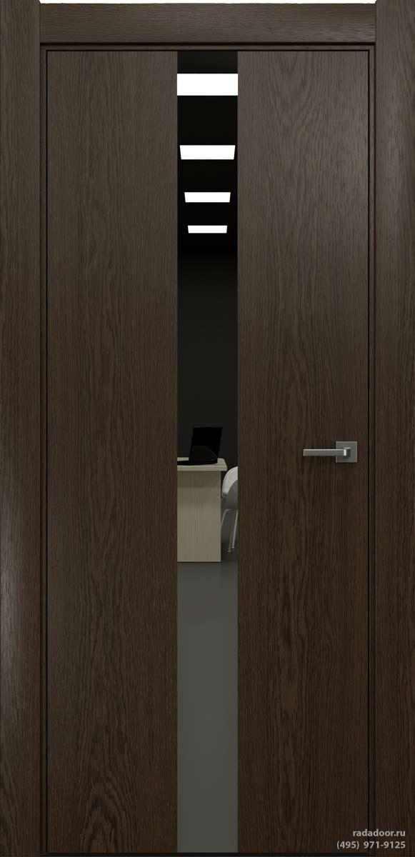 Двери Рада X-Line Д03 в цвете Американо стекло графитовое зеркало