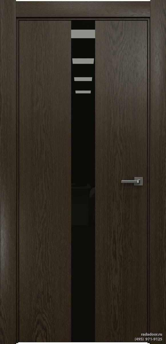 Двери Рада X-Line Д03 в цвете Экспрессо стекло черный лакобель