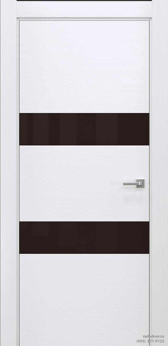 Двери Рада X-Line Д04 в цвете Blanc стекло темно-коричневый лакобель