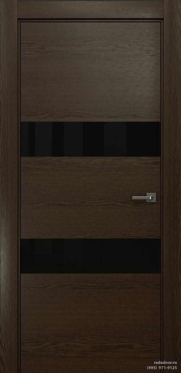 Двери Рада X-Line Д04 в цвете Американо стекло черный лакобель