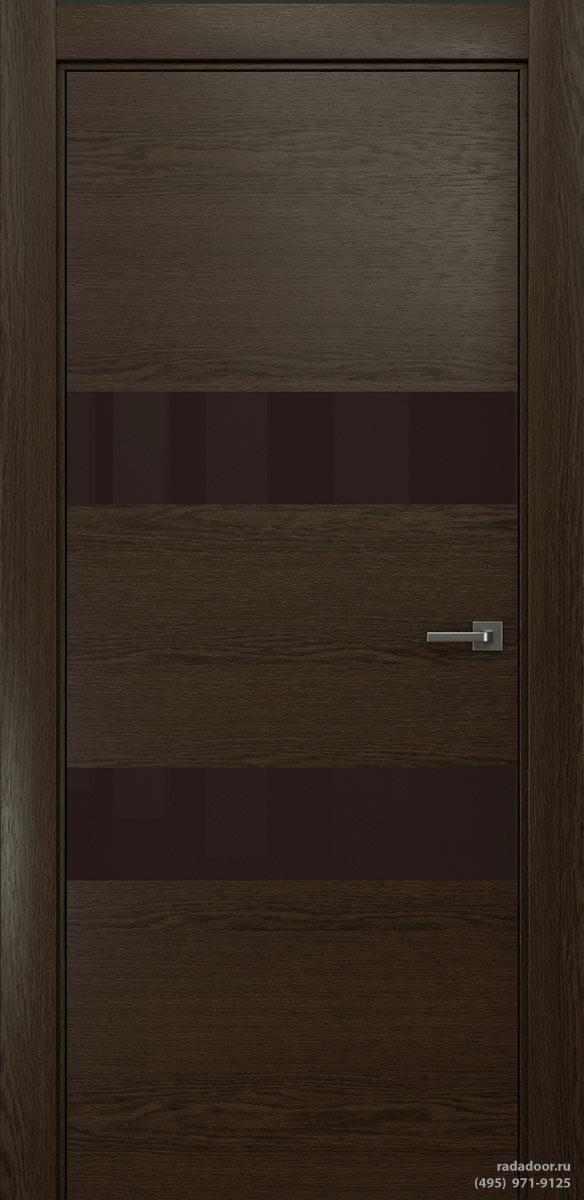 Двери Рада X-Line Д04 в цвете Американо стекло темно-коричневый лакобель